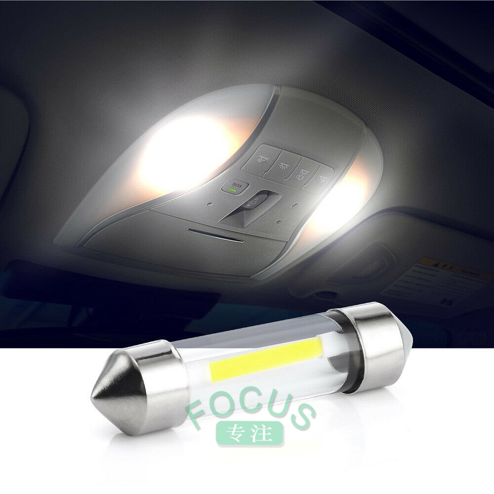 10pcs Auto Car COB C5W C10W 12V Glass Lens LED Festoon Dome Light Lamp Blud 39mm