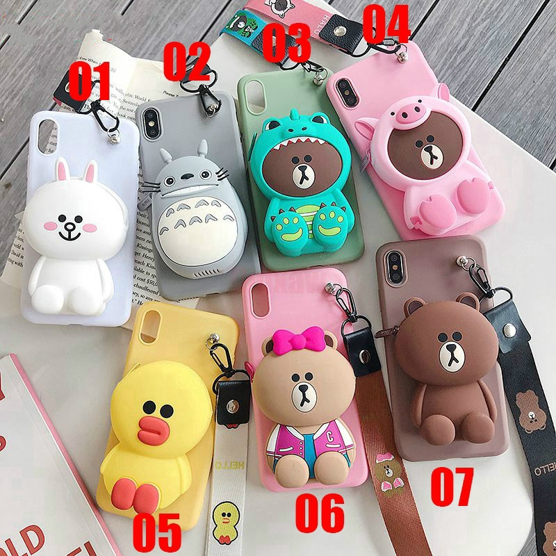 Cartoon Zipper Wallet Case Samsung Galaxy A7 A9 J8 A6+ Plus A6 A8 2018 A9 Pro 2016 Silicone Cover เคสมือถื