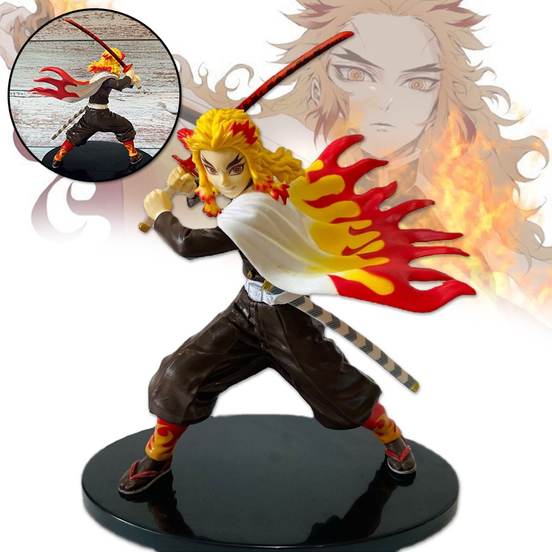 ZF Demon Slayer Figure Toys Rengoku Kyoujurou Model Ornaments PVC Collectible Anime Action Character Model
