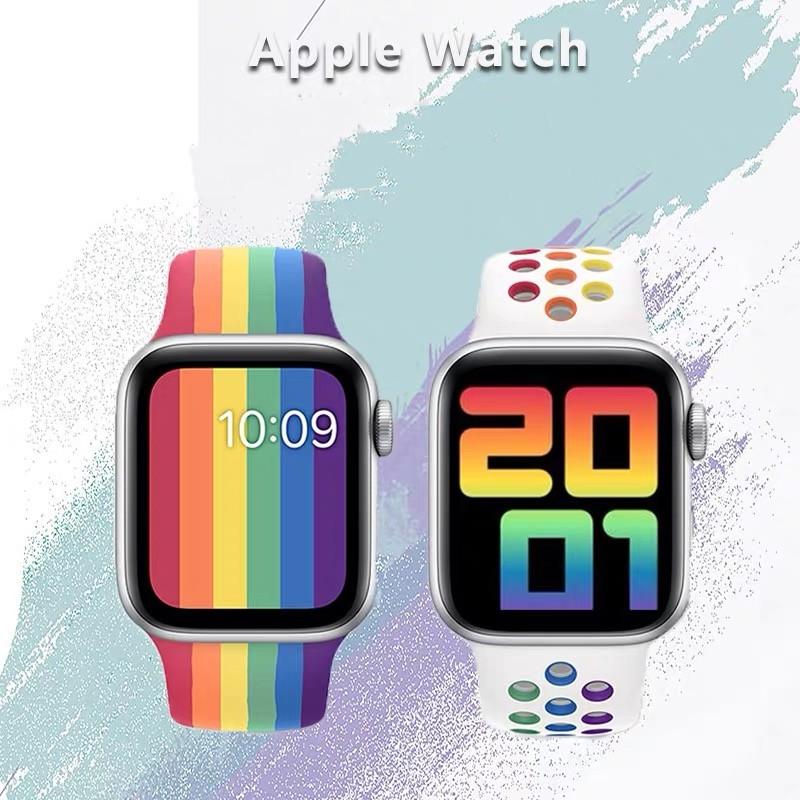 พร้อมส่งจากไทย!สายนาฬิกาข้อมือ สำหรับ (สีรุ้ง) Apple Watch SE band Series 6/5/4/3/2/1 ขนาด 38mm/40mm/42mm/44 mm