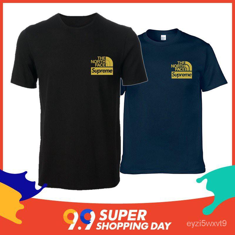 แท้100%เสื้อยืด oversize แฟชั่นเกาหลี สไตล์เกาหลี the noth supreme Unisex Short Sleeve Fashion Casual T-shirt