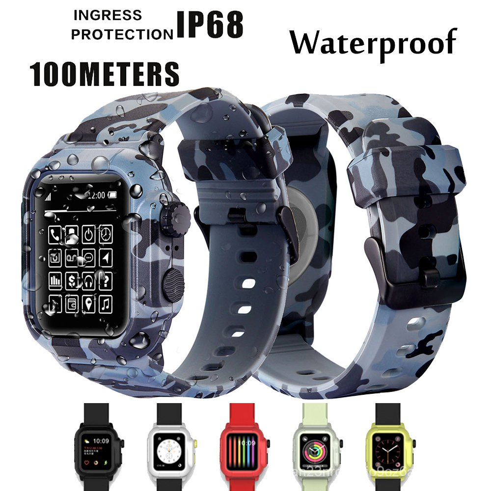 Silicone Band Case Cover For Apple Watch Case Series 4 3 2  Waterproof Sports 44mm 42mm 40mm Strap Shockproof Frame FOEM