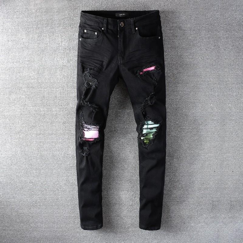 มีความยืดหยุ่นAMIRI Amiriบางกางเกงกางเกงยีนส์โคบาลรูสีดำปะปะ amiri jeans