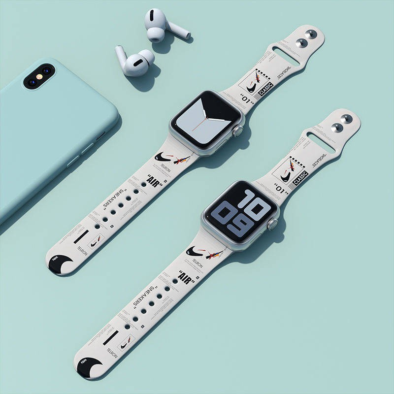 สาย applewatch สายแอปเปิ้ลวอช AJ บุคลิกภาพน้ำพิมพ์สายการออกแบบสายรัด Applewatch สายแอปเปิ้ลดู 5/4 รุ่นกีฬาซิลิโคน