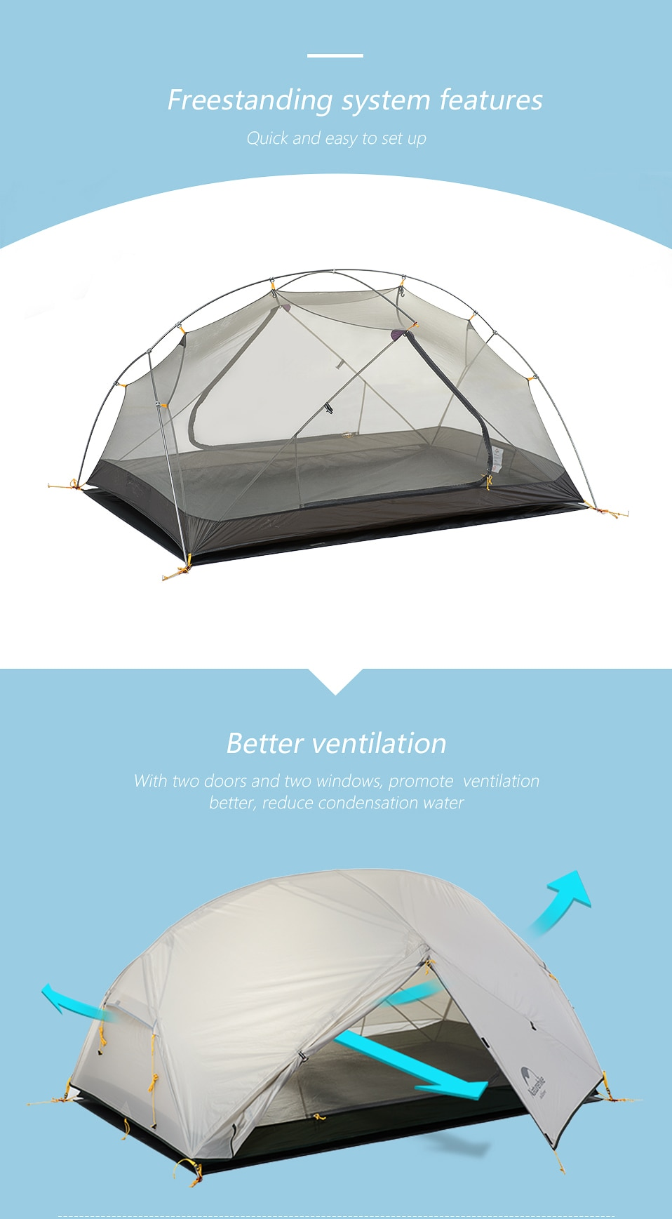 2020 New Naturehike Mongar 2 Persons Camping Tent 20D Nylon Fabic Double Layer Waterproof Tent for 3 Seasons NH17T007-M