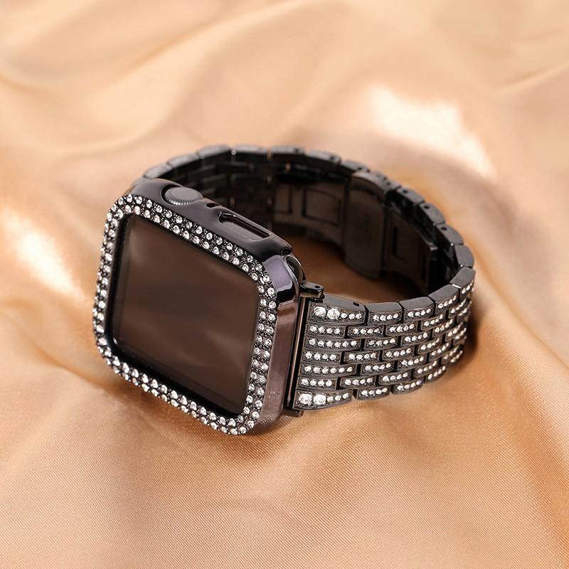 Luxury Diamonds Apple Watch Strap + Case Apple Watch 6 5 4 3, Apple Watch SE size 38mm 40mm 42mm 44mm Apple Watch Case a