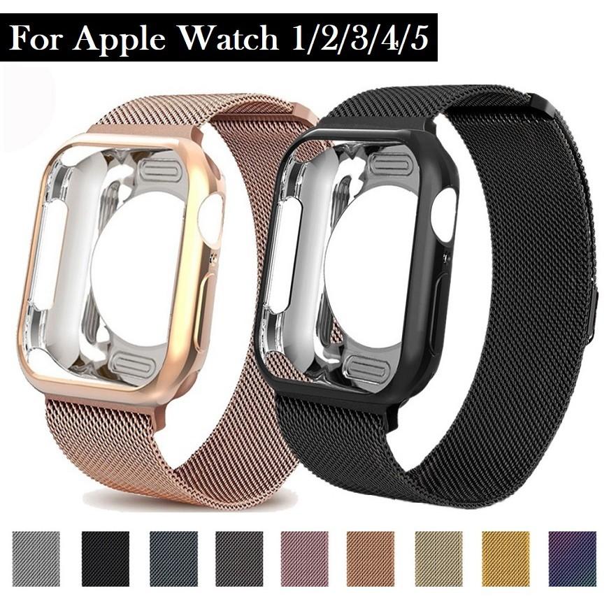 ღღApple Watch strap + Apple Watch Case I Watch Series 6 5 4 3 2, Apple Watch SE size 38mm,40mm,42mm,44mm Same Color Mila
