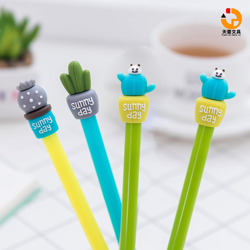 "Korea Stationery Creative cactus gel pen Potted-shaped ball pen Cartoon-shaped signature pen Student office writing pen 0.5mm full-needle black pen Cactus pen ""Tianlei Stationery"""