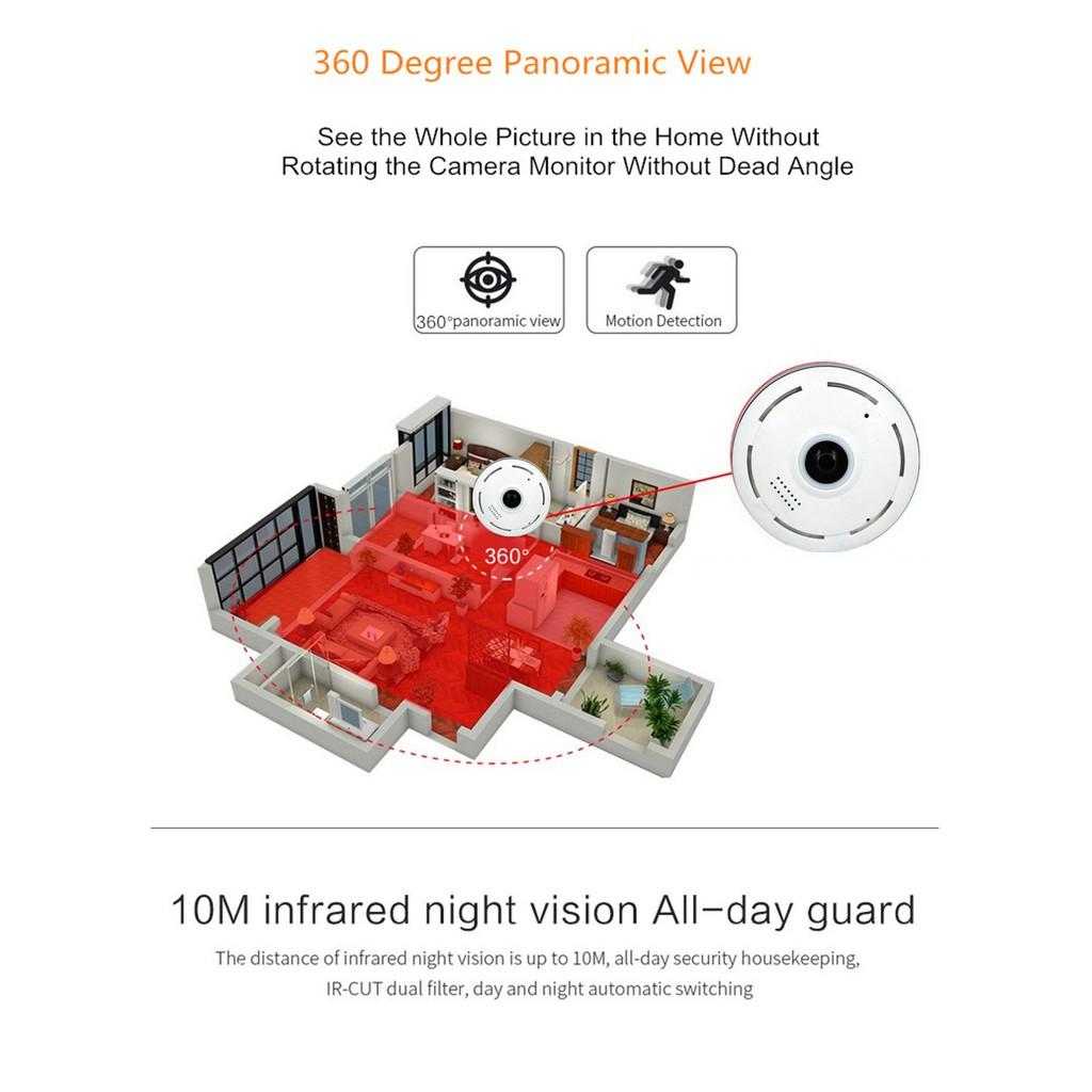 V380 APP HD 960P Wifi IP Camera 360 Degree CCTV Night Vision Fisheyes Lens  VR Cam กล้องวงจรปิดไวไฟ คมชัด