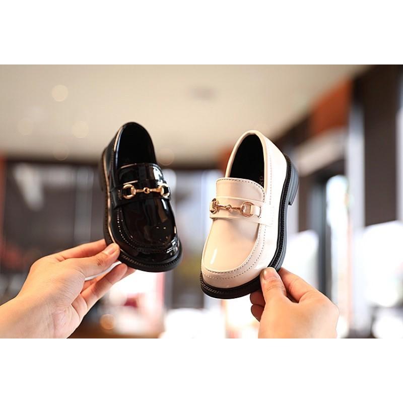 รองเท้าเด็ก คัชชูเกาหลี หนังแก้ว สีดำ,สีขาว
