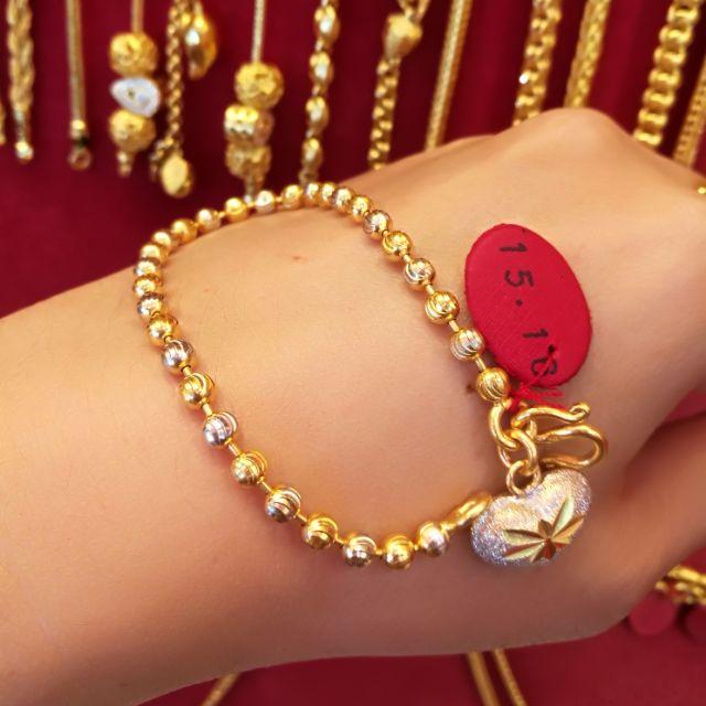 สร้อยมือทองแท้ 96.5% เลเซอร์ทองคำขาวแท้ น้ำหนัก 1 บาท ยาว 17.5cm. ราคา 27,600 บาท