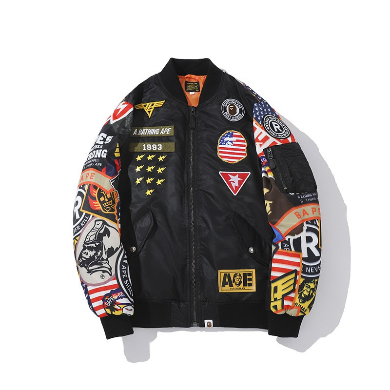 BAPE black flight petch MA-1 Badge jacket
