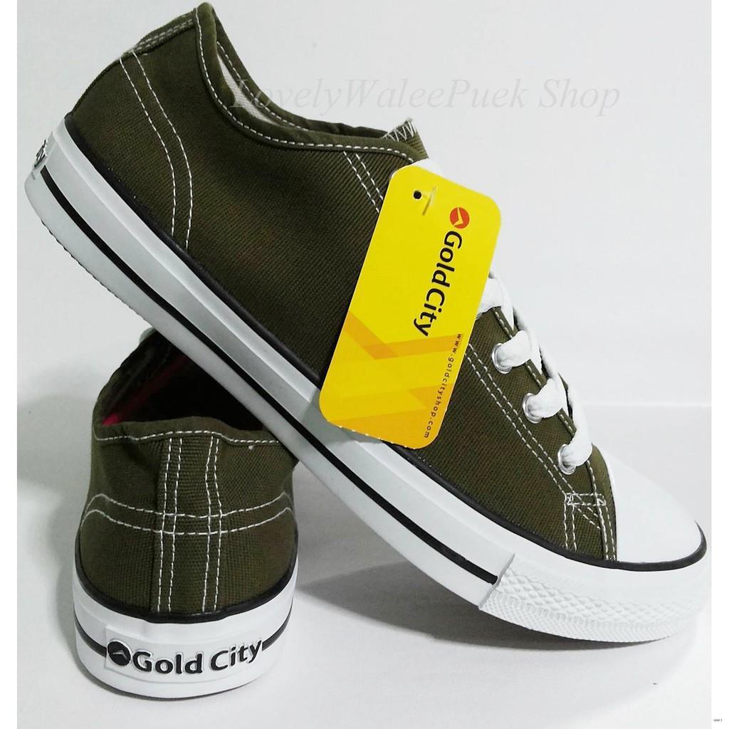ยางยืดออกกําลังกาย☍Gold City-1207 สีเขียวขี้ม้า รองเท้าผ้าใบพื้นนุ่มใส่ทน Size 36-47