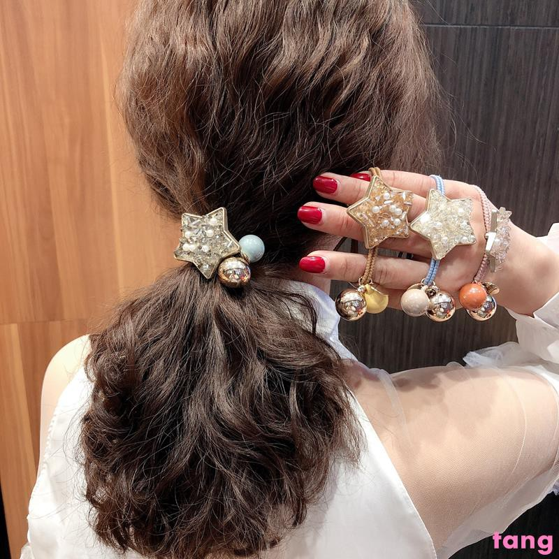 Korea ins net red hair ring girl simple crystal five-pointed star hair rope  ball head rope tie hair band hair accessorie