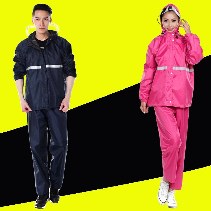 New Alitech ชุดกันฝน เสื้อกันฝน สีกรมท่า มีแถบสะท้อนแสง รุ่น หมวกติดเสื้อ Waterproof Rain Suit.