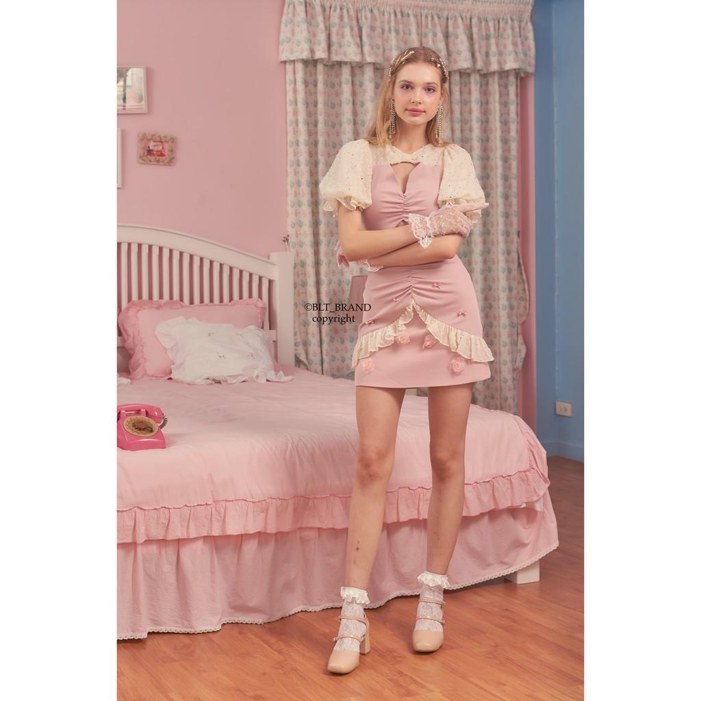 BLT BRAND เสื้อผ้าแบรนด์แท้ เดรสสีชมพูขาว สวยน่ารักมากจ้า สำหรับรุ่นพิเศษ เหลือ Size Xs