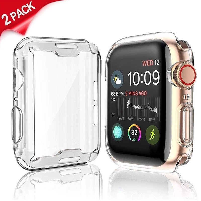 [2 Pcs] For Apple Watch Full Coverage Soft TPU Clear Case for iWatch Series 5 4 3 2 1 44MM/40MM/42MM/38MM
