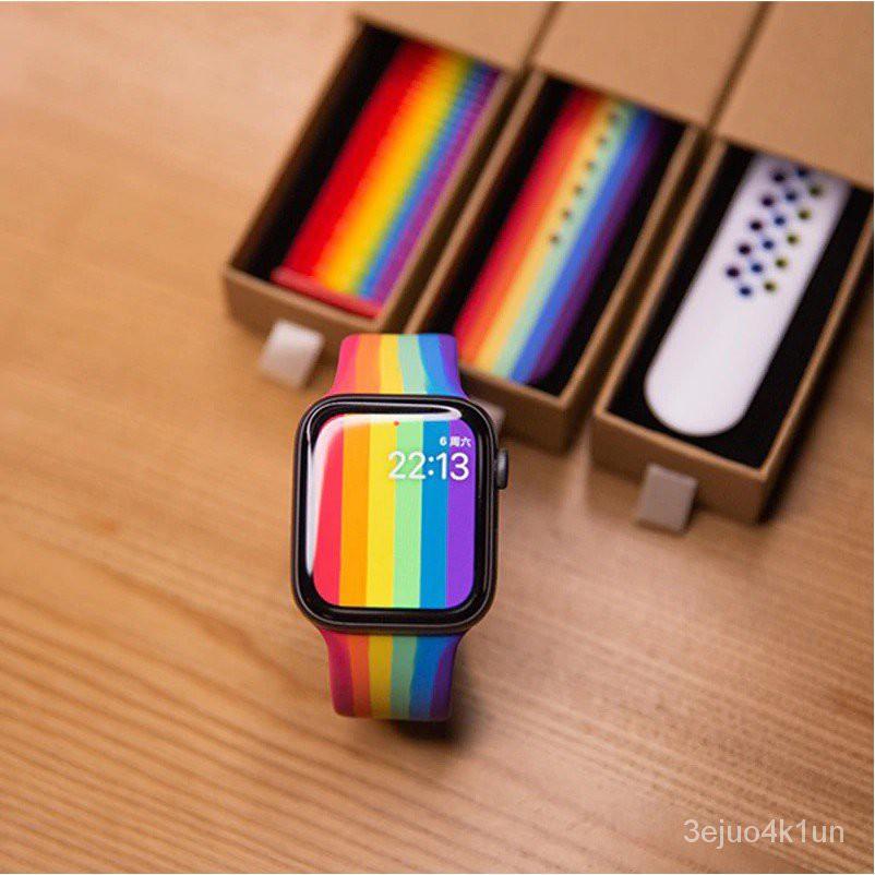 [ส่งเร็ว สต๊อกไทย] สาย Apple Watch Pride Edition สายสีรุ้ง applewatch Sport Series 6 SE 5 4 3 ตัวเรื่อน 38 40 42 44 mm V