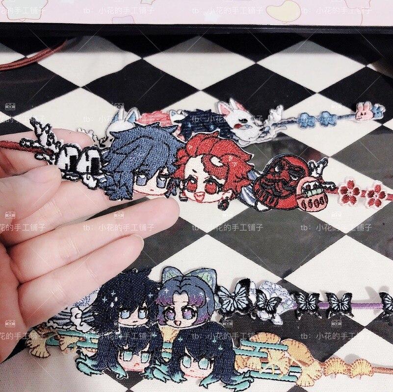 Anime Bracelet Wristband Gift Demon Slayer Kimetsu no Yaiba Sabito Kochou Shinobu Coslay Figure Embroidery Bracelet Acce