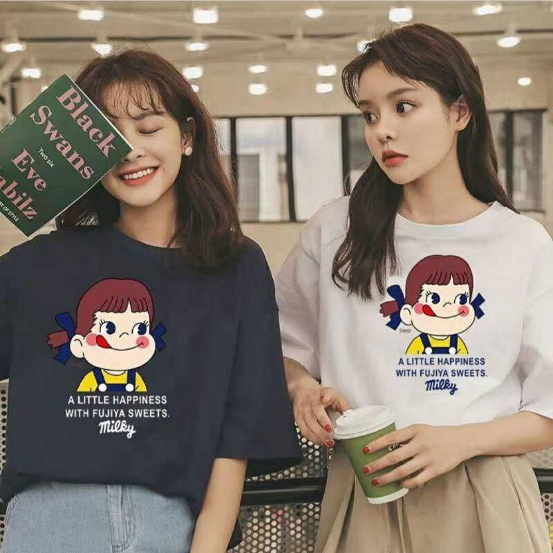 เสื้อยืดการ์ตูน oversize สกรีนลาย peko chan น่ารักมากๆ ( พร้อมส่ง 3 สี )