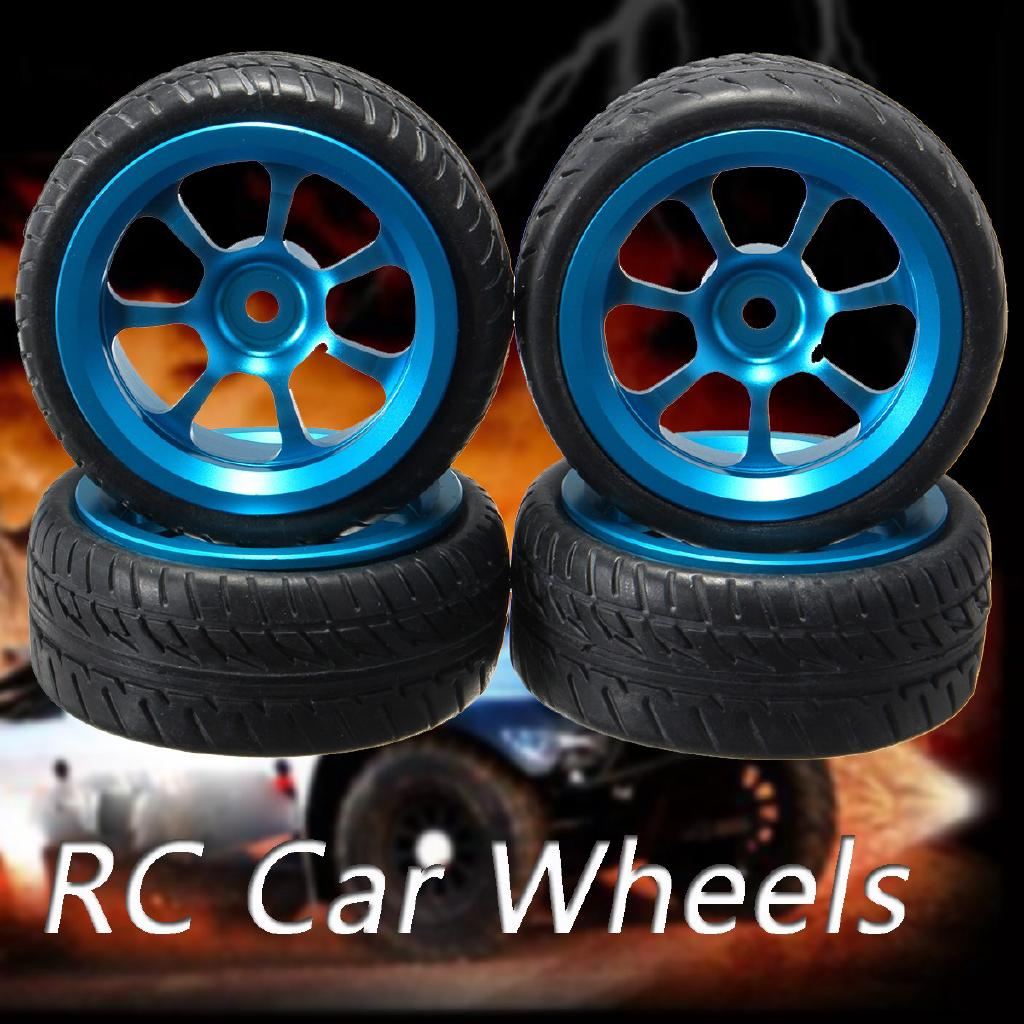 4Pcs Blue RC Car Rims & Tires Wheels For 1/18 WLtoys A959-B