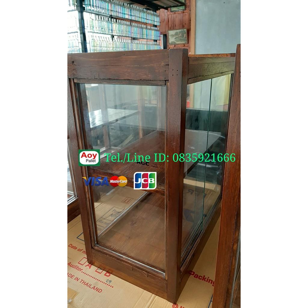 ตู้ก๋วยเตี๋ยว #พร้อมกระจก ไม้สน มีชั้นกลาง สำหรับเปิดร้าน 35cm x 60cm x 70cm ส่งทุกวัน
