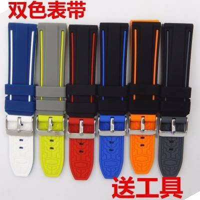สายนาฬิกา สายนาฬิกาอัจฉริยะ สายนาฬิกา applewatch สาย applewatch Sports waterproof double color silicone watch belt 20/22