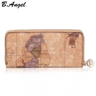 Review Vintage Long Leather Map Pattern Wallet Men's and Women's Zipper Clutch Purse