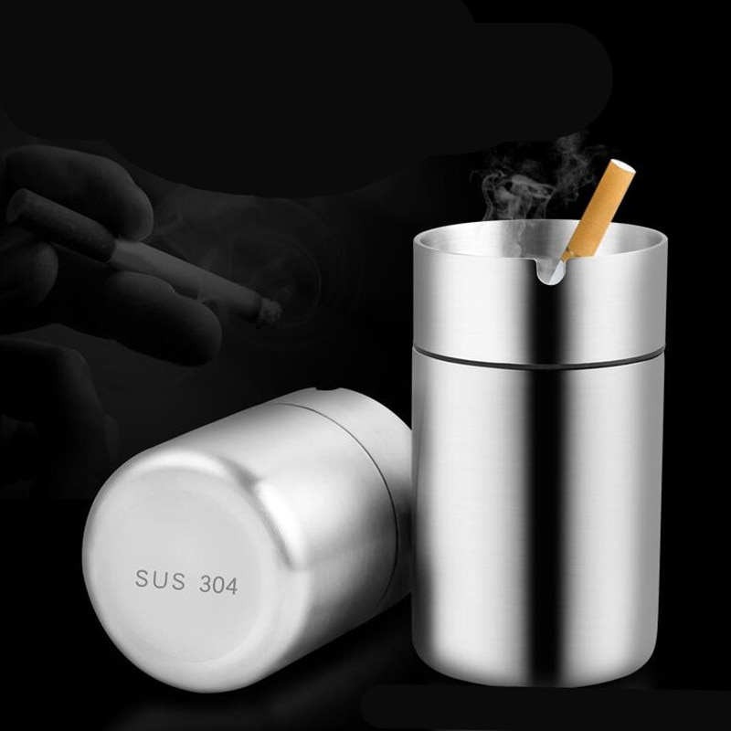 Stainless Steel Car Ashtray Smokeless Auto Cigarette Ashtray Ash Holder