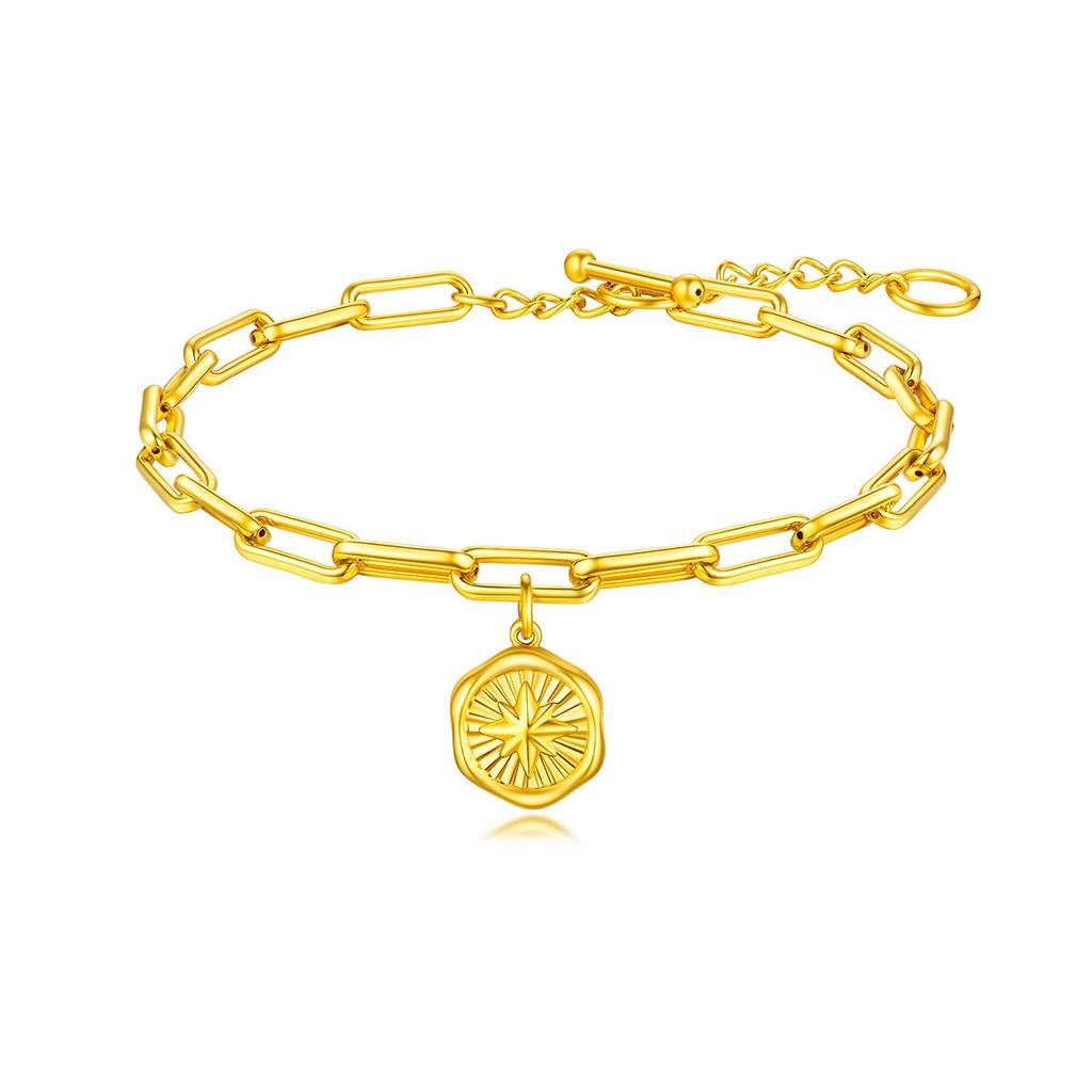 Luk Fook อัญมณี | สร้อยข้อมือทองคำ Star Mang พร้อมโซ่ขยายราคาผู้หญิงทองคำแข็ง