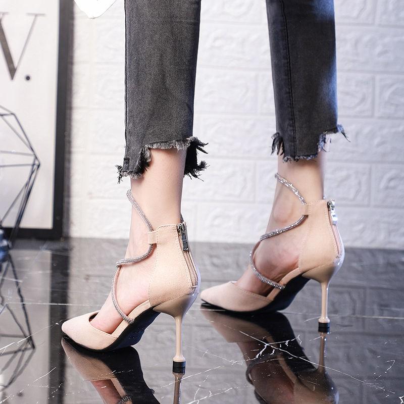 มีสินค้า 🎌🎌 รองเท้าลูกไม้ไขว้ รองเท้าหัวแหลม รองเท้าส้นสูงผู้หญิง รองเท้าแฟชั่นผู้หญิง รองเท้าคัชชูสีดำ