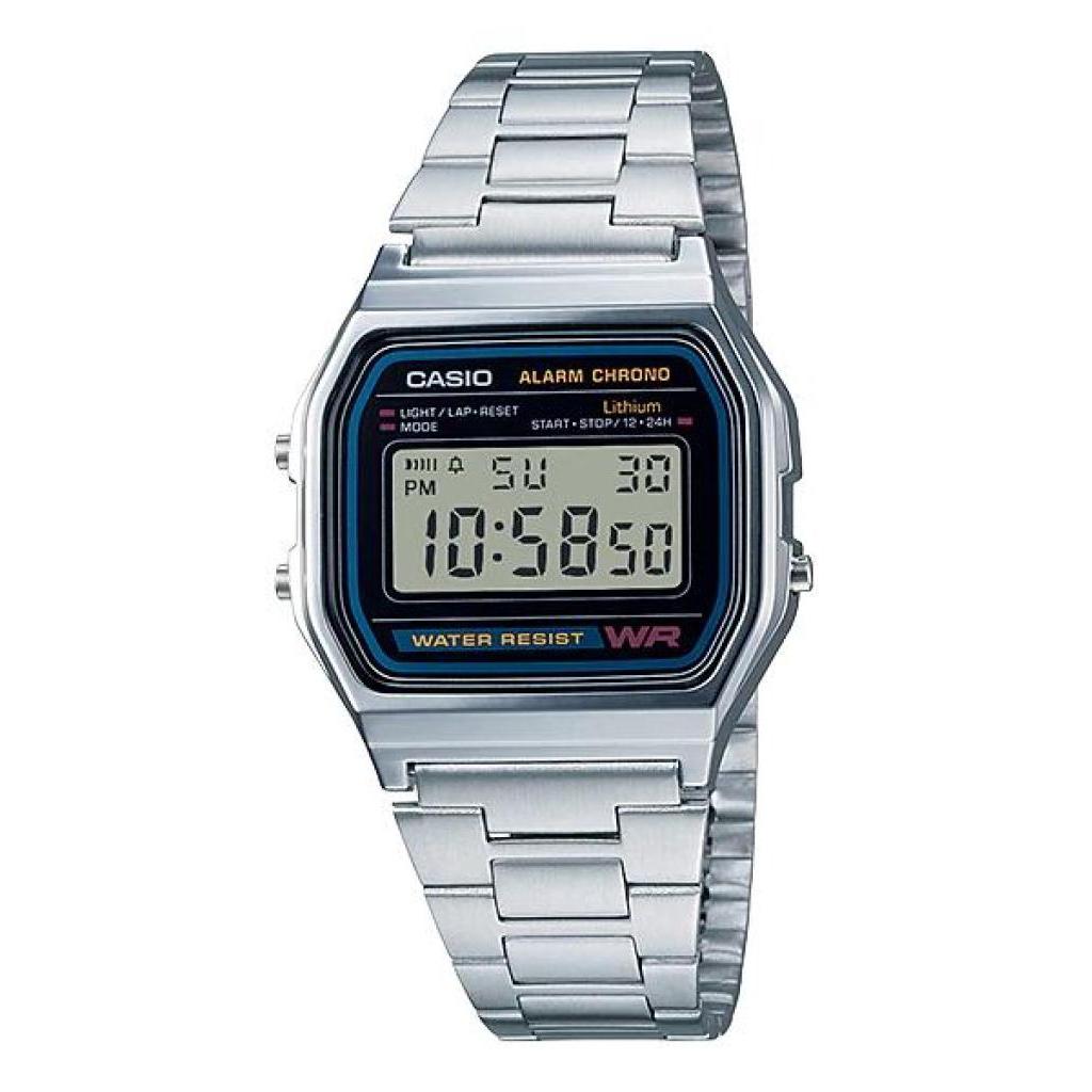 Casio นาฬิกาข้อมือผู้ชาย สายสแตนเลส รุ่น A158WA-1DF - สีเงินasio นาฬิกาข้อมือผู้ชาย สายสแตนเลส รุ่น A158WA-1DF - สีเงิน