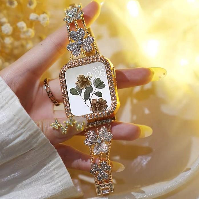 สาย applewatch+ เคส รูปสี่เหลี่ยมขนมเปียกปูน สายนาฬิกา applewatch Strap Diamonds Straps for Apple watch Series 1/2/3/4/5/6 , Apple Watch SE, size 38mm 40mm 42mm 44mm Watch band