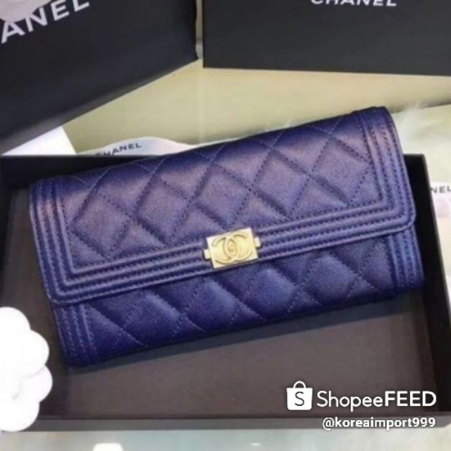 Chanel Boy Caviar Wallet With Gold Hardware