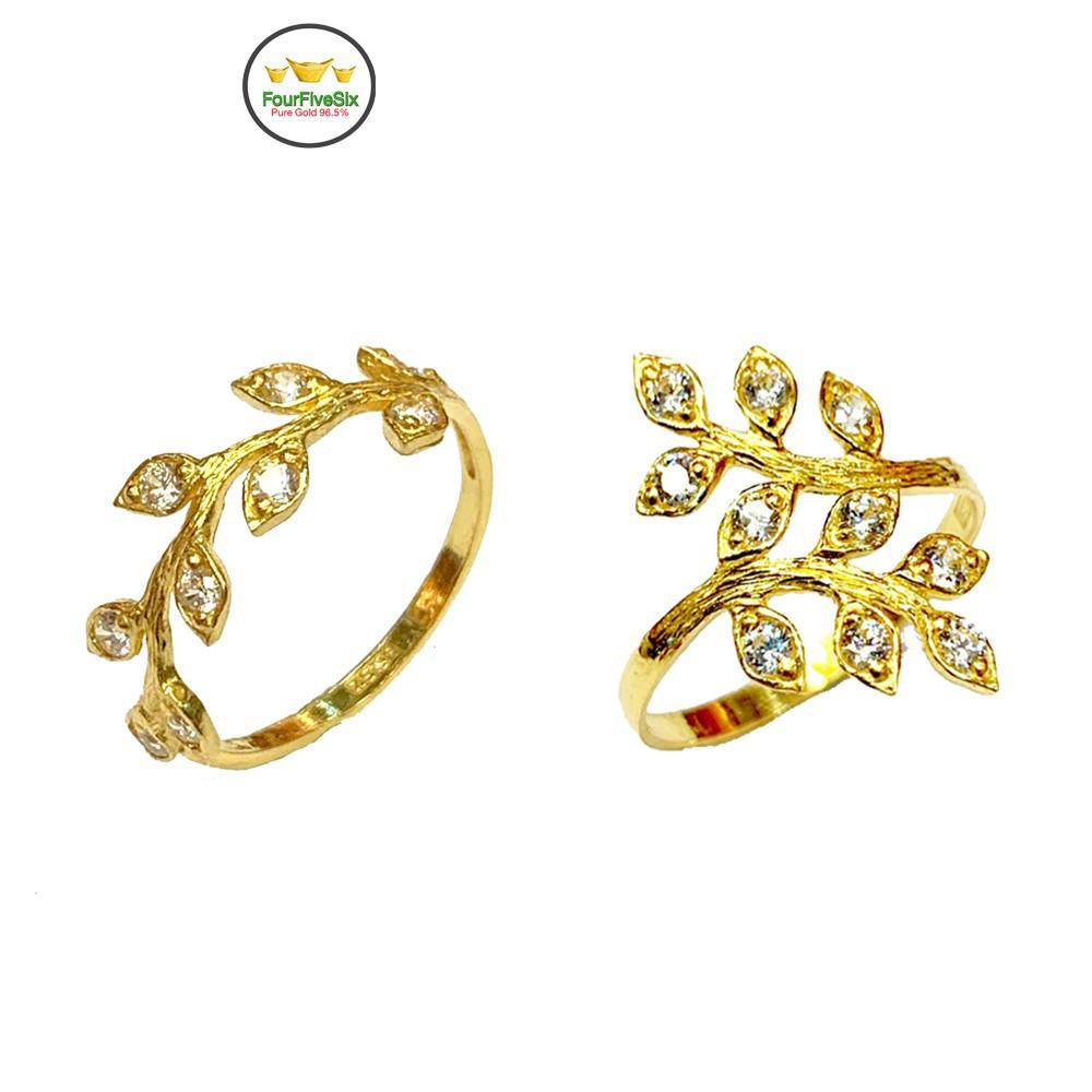 ราคาไม่แพงมาก❃♟FFS แหวนทองครึ่งสลึง ใบมะกอก ฝังเพชร หนัก 1.9 กรัม ทองคำแท้96.5%