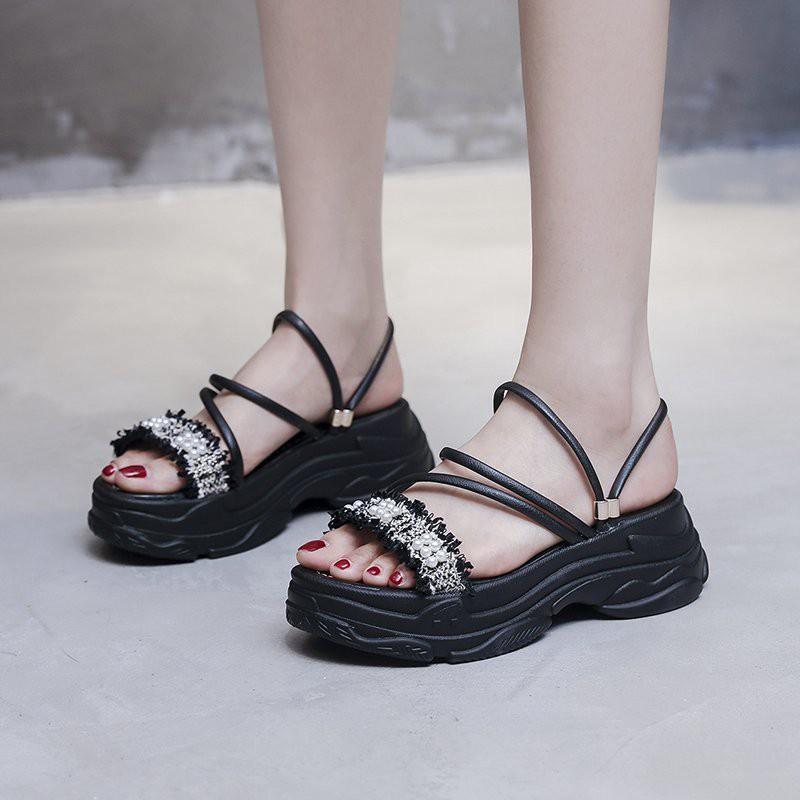 รองเท้าเกาหลี รองเท้าแตะแฟชั่นผู้หญิง 6cm รองเท้าส้นตึกและส้นเตารีด รองเท้าคัชชู รองเท้าแตะรัดส้น