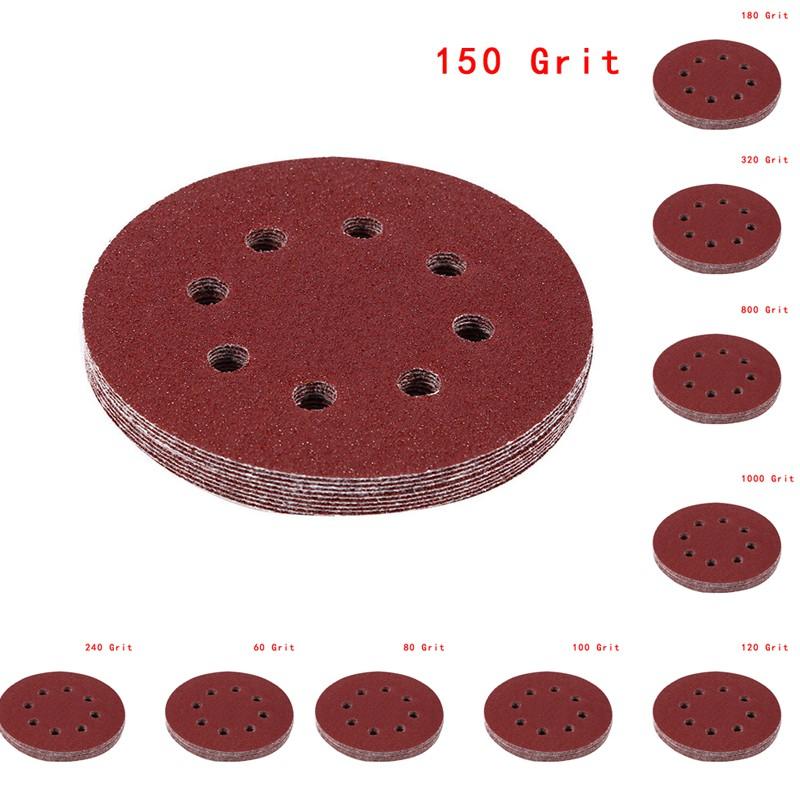 10 x 125mm hook and loop Orbital abrasive sanding discs pads Grit 80