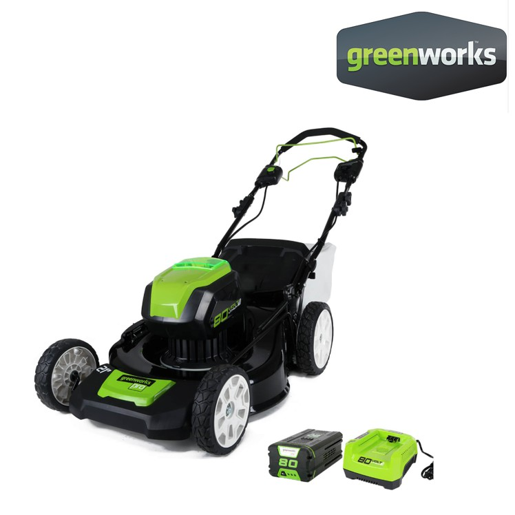 Greenworks รถตัดหญ้าเดินตามแบตเตอรี่ 80V พร้อมแบตเตอรี่และแท่นชาร์จ (2500707)