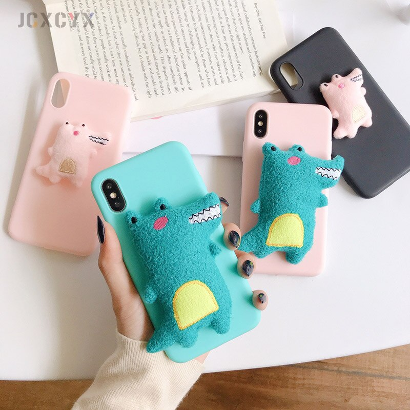 Cute 3D plush crocodile soft phone case for iphone X XR XS 11 Pro Max 6s 7 8 plus cover for samsung S8 S9 S10 A50 Note 1