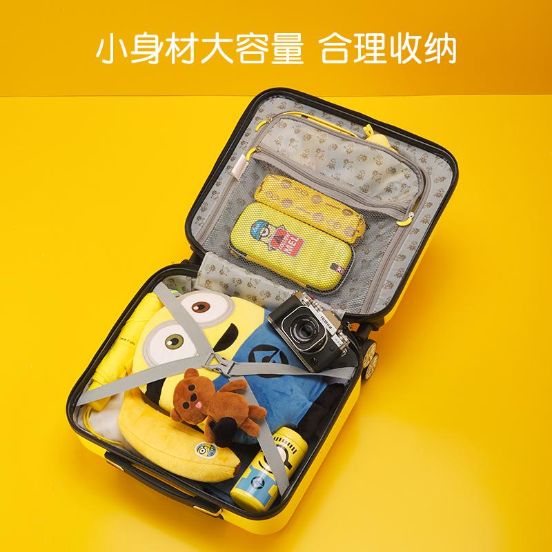 ﹨웃 กระเป๋าเดินทางล้อลากใบเล็ก กระเป๋าเดินทางล้อลากกรณีรถเข็นY & Qกระเป๋าเด็กสามารถติดตั้งกรณีรถเข็นผู้หญิงคนสีเหลือง