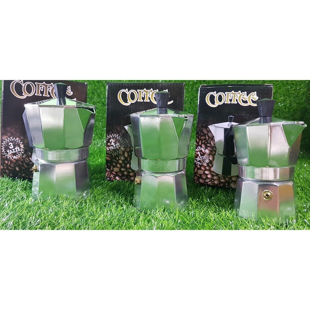 กาต้มกาแฟสดเครื่องชงกาแฟสด Moka Pot แบบปิคนิคพกพา ใช้ทำกาแฟสดทานได้ทุกที (สีเงิน)