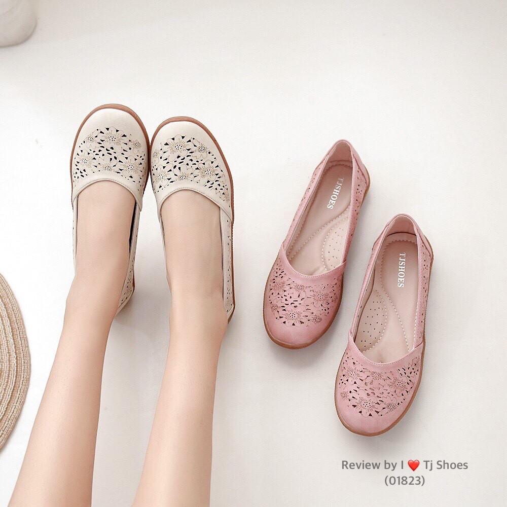 ไซส์36-41 รองเท้าเพื่อสุขภาพผู้หญิง Tj Shoes 01823 นุ่มเบาใส่สบาย หนังนิ่ม คัชชู ลำลองหุ้มส้น น้ำหนักเบา ผ้าใบ ไซส์พิเศษ