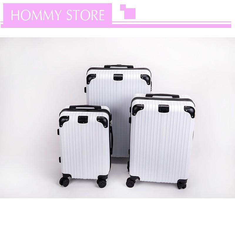 กระเป๋าเดินทาง สีขาว กระเป๋าเดินทางล็อกรหัส กระเป๋าเดินทางล้อลาก กระเป๋าเดินทางกันน้ำ ขนาด 20 / 24 / 28 นิ้ว วัสดุABS+PC