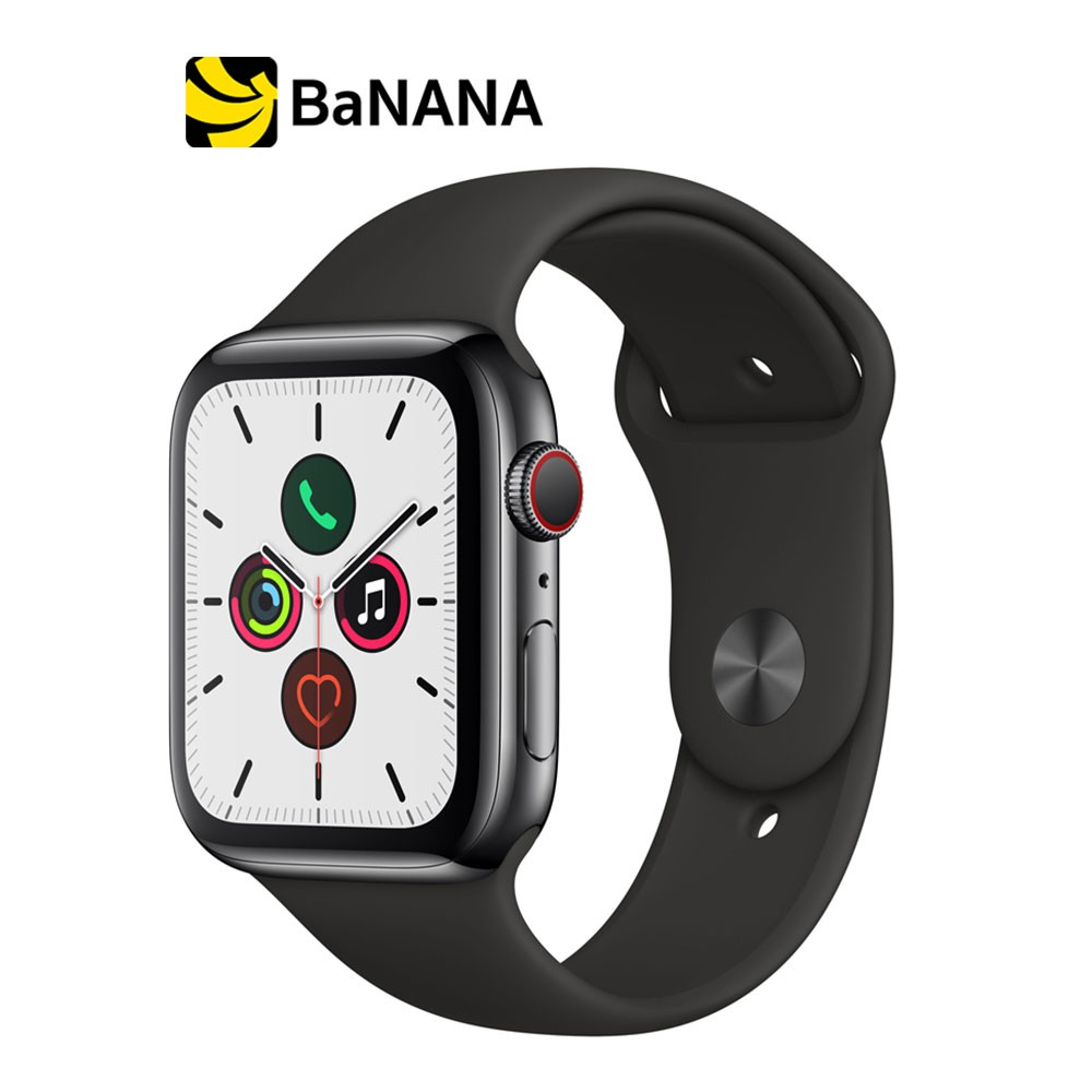 Apple Watch Series 5 GPS + Cellular 44mm Space Black Stainless Steel Case with Black Sport Band by Banana IT