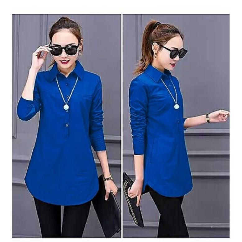 เสื้อเบลาส์เสื้อเบลาส์ Devy / Tunic / Ity Crepe Sovia สีฟ้า (สําหรับผู้หญิง 0140) Qhj 53fzq