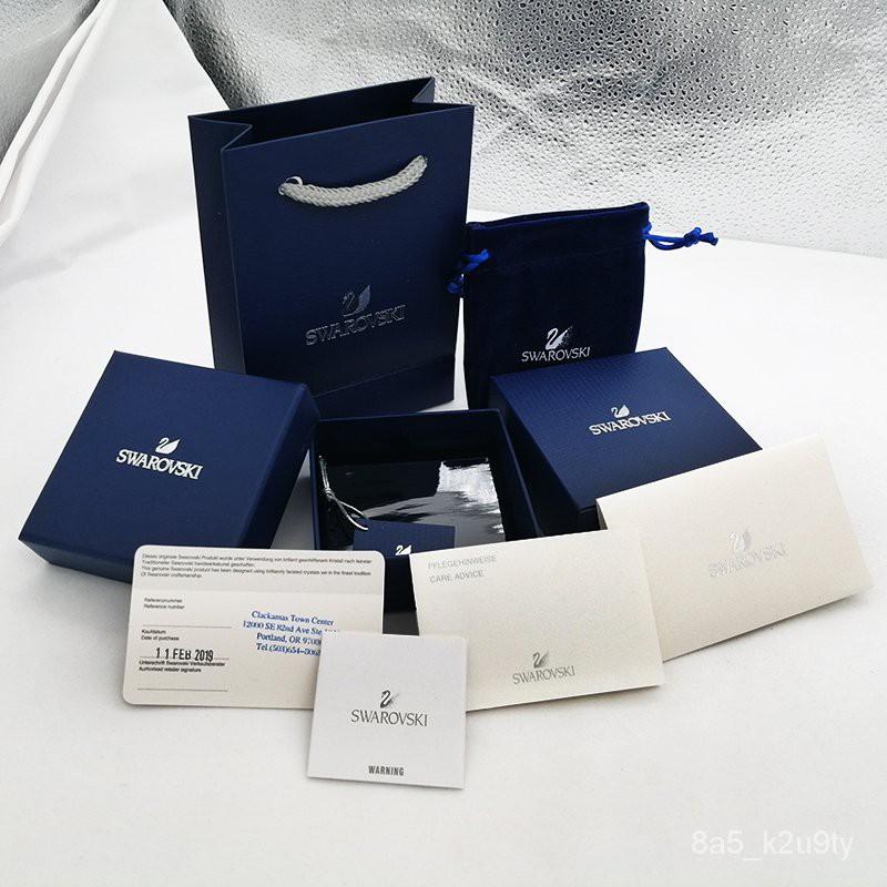 กล่องใส่พระ Swarovski ของขวัญบรรจุภัณฑ์หงส์สร้อยคอชุดเต็มของกล่องเครื่องประดับต่างหูต่างหูสร้อยข้อมือสร้อยข้อมือกระเป๋าม