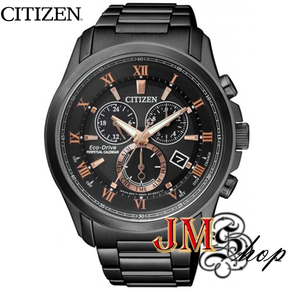 CITIZEN Eco-Drive นาฬิกาข้อมือผู้ชาย สายสแตนเลสสีดำ รุ่น BL5545-50E (สีดำ)