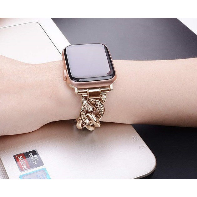 Luxury Chain สายนาฬิกา Apple Watch Straps Diamonds Bling เหล็กกล้าไร้สนิม สาย Applewatch Series 6 5 4 3 2 1, SE Stainles