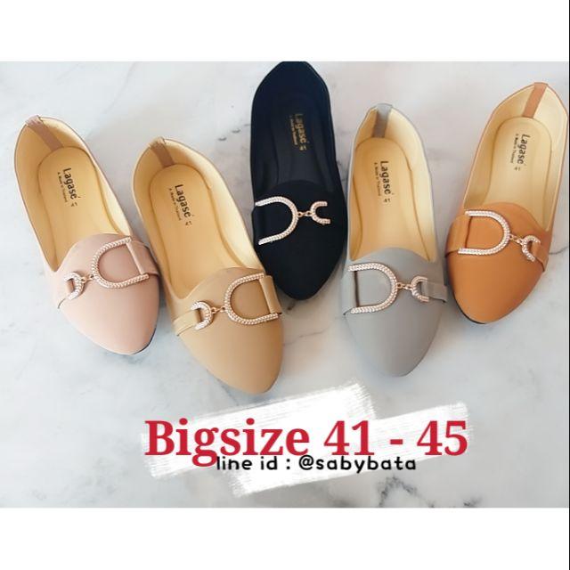⭐️ส่งทุกวัน⭐️ รองเท้าไซส์ใหญ่ Bigsize 41-45 คัชชูอะไหล่เพชร รองเท้าผู้หญิงไซส์ใหญ่ รองเท้าหุ้มส้น รองเท้าคัชชู
