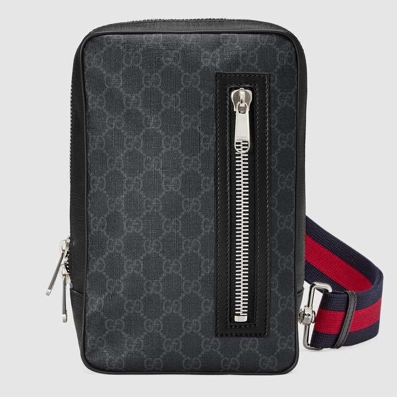 แบรนด์ใหม่ Gucci GG Supreme canvas belt bag 17cm black
